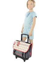 Wheeled Schoolbag 2 Compartments Cameleon Pink new basic NBACA38R-vue-porte