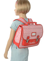 76e08bfc2f ... Cartable 1 Compartiment Cameleon Rouge retro RET-CA32-vue-porte