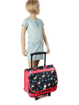 Wheeled Schoolbag With Free Pencil Case Roxy Black kid RLBP3023-vue-porte