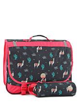 Cartable 2 Compartiments Avec Trousse Assortie Roxy Noir kid RLBP3022
