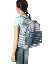 Sac à Dos 1 Compartiment Roxy Bleu back to school RJBP3538-vue-porte