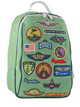 Backpack Jeune premier Green canvas BJ17