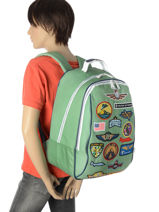 Backpack Jeune premier Green canvas BJ17-vue-porte