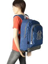 Backpack 1 Compartment With Matching Pencil Case Mlb/new-york yankees Blue blus sky MNO12011-vue-porte