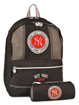 Backpack 2 Compartments With Matching Pencil Case Mlb/new-york yankees Black team MNM22038
