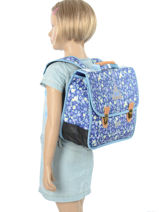 Satchel 2 Compartments With Free Pencil Case Poids plume Blue be all over color PCO15357-vue-porte