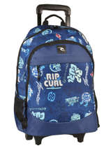 Sac A Dos A Roulettes 2 Compartiments Rip curl Bleu heritage logo BBPJC4