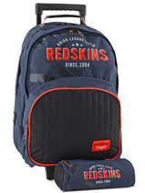 Sac A Dos A Roulettes 2 Compartiments + Trousse Redskins Gris bombers REI12091