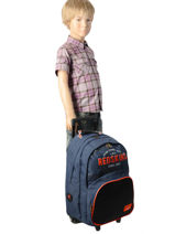 Sac A Dos A Roulettes 2 Compartiments + Trousse Redskins Gray bombers REI12091-vue-porte