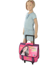 Cartable A Roulettes Soy luna Rose enjoy 18ENJO-vue-porte