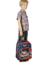 Wheeled Backpack 1 Compartment Planes Black star 8HERO-vue-porte