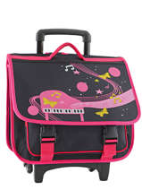 Wheeled Schoolbag 2 Compartments Miniprix Black music 1207
