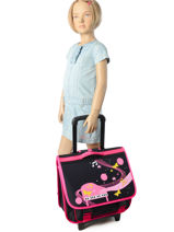 Wheeled Schoolbag 2 Compartments Miniprix Black music 1207-vue-porte