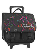 Wheeled Schoolbag 2 Compartments Miniprix Black roll 16201