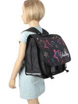 Satchel 2 Compartments Miniprix Black school 16202-vue-porte