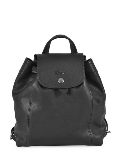 Longchamp Le pliage cuir Sac à dos Noir