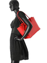 Sac Shopping  Mercer Cuir Michael kors Rouge mercer H6GM9S3L-vue-porte