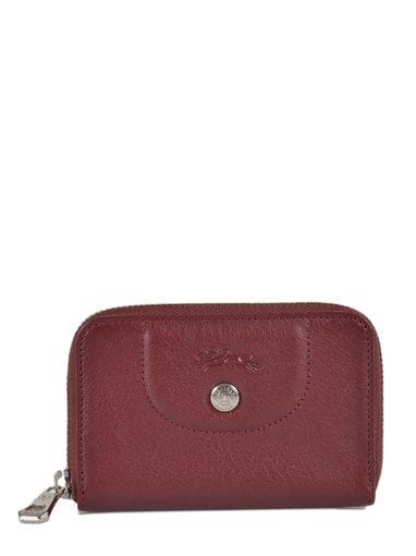 Longchamp Le pliage cuir Coin purse Red