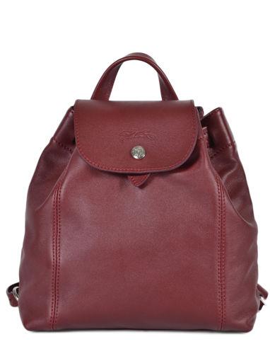 Longchamp Le pliage cuir Sac à dos Rouge
