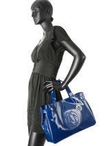 Shopping Bag Vernice Lucida Patent Armani jeans Blue vernice lucida 5291-55-vue-porte