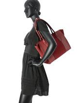 Sac Shopping Caleche Cuir Etrier Rouge caleche ECAL003B-vue-porte