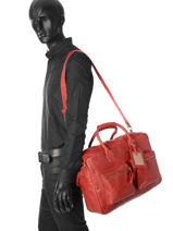 Briefcase 1 Compartment A4 Cowboysbag Red vegetal 1030-vue-porte