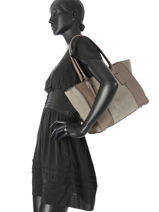 Shopper Caleche Leather Etrier Gray caleche ECAL003B-vue-porte