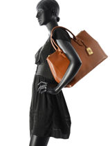 Sac Porte Main A4 New Bury Cuir Lauren ralph lauren Marron new bury 31186080-vue-porte