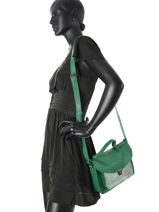 Crossbody Bag Vintage Leather Paul marius Green vintage GEORGE-vue-porte