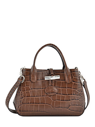 Longchamp Roseau Croco Messenger bag Brown