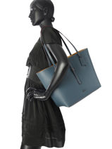 Shoulder Bag Market Tote Leather Coach Blue tote 58849-vue-porte