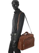 Briefcase 2 Compartments Foures Brown 9950-vue-porte