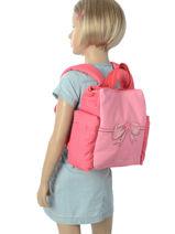 Backpack Jeune premier Pink canvas BIN18-vue-porte