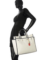 Cabas Th Heritage Tote Tommy hilfiger Blanc th heritage tote AW04844-vue-porte