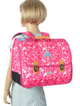 Satchel 2 Compartments With Free Pencil Case Poids plume Pink be all over color PCO15387-vue-porte