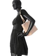 Shoulder Bag Adele Leather Lancaster Pink adele 421-43-vue-porte