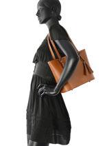 Shoulder Bag Palma Leather Milano Brown palma PA15013N-vue-porte