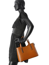 Top Handle Palma Leather Milano Brown palma PA15116N-vue-porte