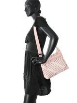 Longchamp Sacs porté travers Rose-vue-porte