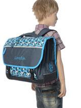 Satchel For Kids 3 Compartments Cameleon Blue new basic NBA-CA41-vue-porte