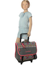 Wheeled Schoolbag 3 Compartments Cameleon Pink new basic NBACA41R-vue-porte