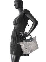 Longchamp Le pliage croco Handbag Red-vue-porte