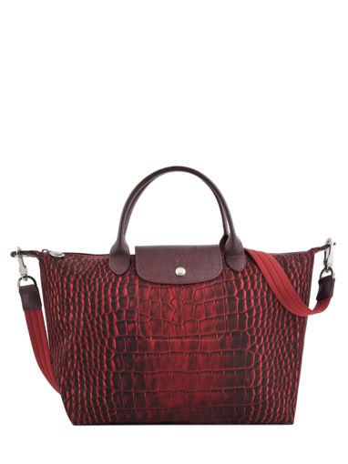 Longchamp Le pliage croco Handbag Red
