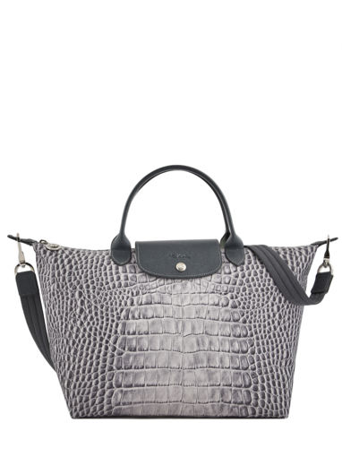 Longchamp Le pliage croco Handbag Gray