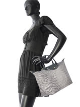 Longchamp Le pliage croco Handbag Gray-vue-porte