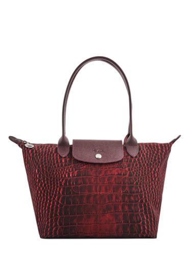 Longchamp Le pliage croco Hobo bag Red