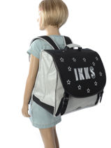 Cartable 2 Compartiments Ikks Noir lucy in the sky 18-41811-vue-porte