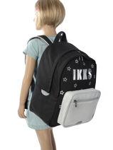 Backpack 2 Compartments Ikks Black lucy in the sky 18-63811-vue-porte