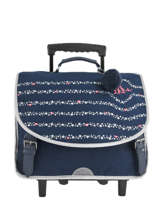 Wheeled Schoolbag 2 Compartments Ikks Blue oh my captain 18-42822