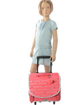 Wheeled Schoolbag 2 Compartments Ikks Pink oh my captain 18-42823-vue-porte
